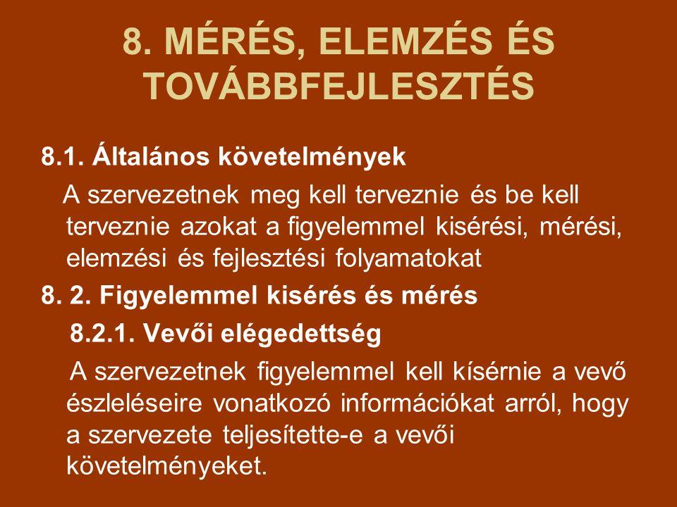 8.MÉRÉS, ELEMZÉS ÉS TOVÁBBFEJLESZTÉS 8.1.