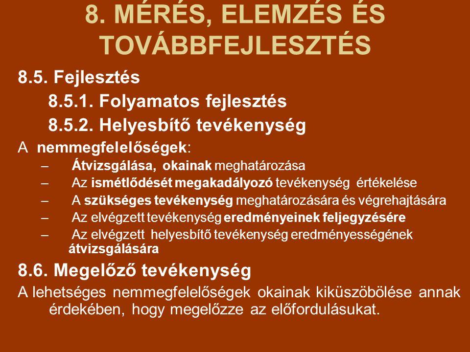 8.MÉRÉS, ELEMZÉS ÉS TOVÁBBFEJLESZTÉS 8.5. Fejlesztés 8.5.1.