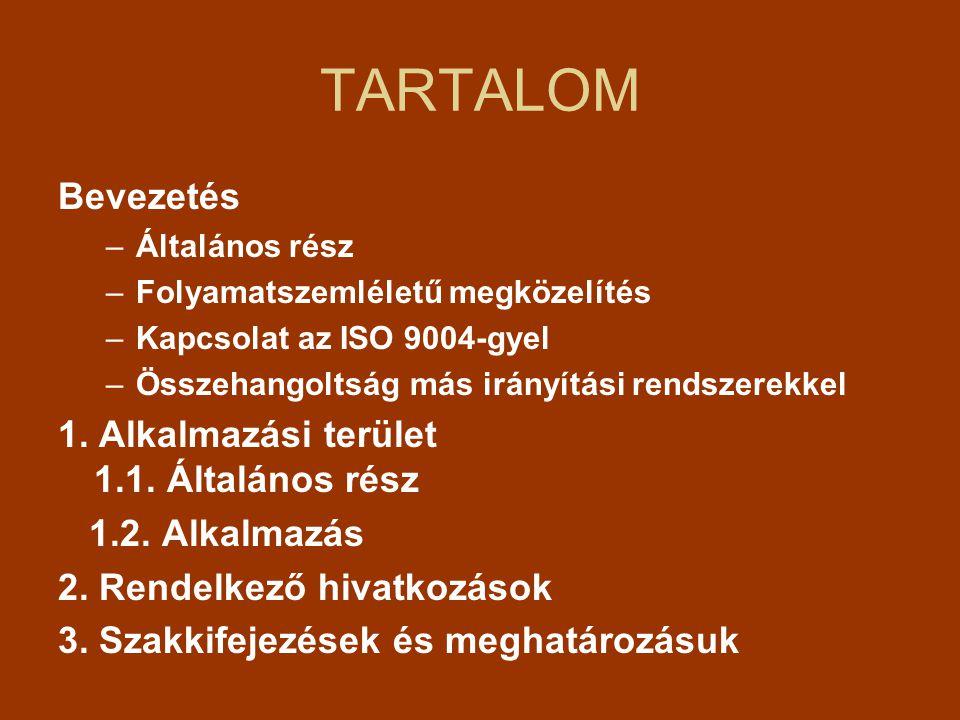 TARTALOM Bevezetés –Általános rész –Folyamatszemléletű megközelítés –Kapcsolat az ISO 9004-gyel –Összehangoltság más irányítási rendszerekkel 1.