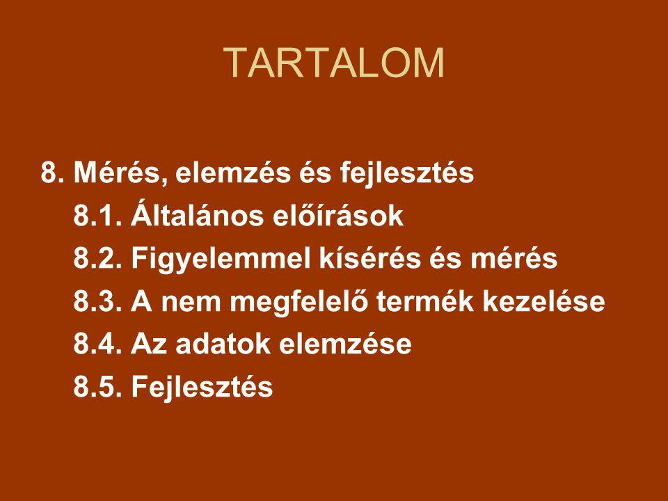 TARTALOM 8.Mérés, elemzés és fejlesztés 8.1. Általános előírások 8.2.