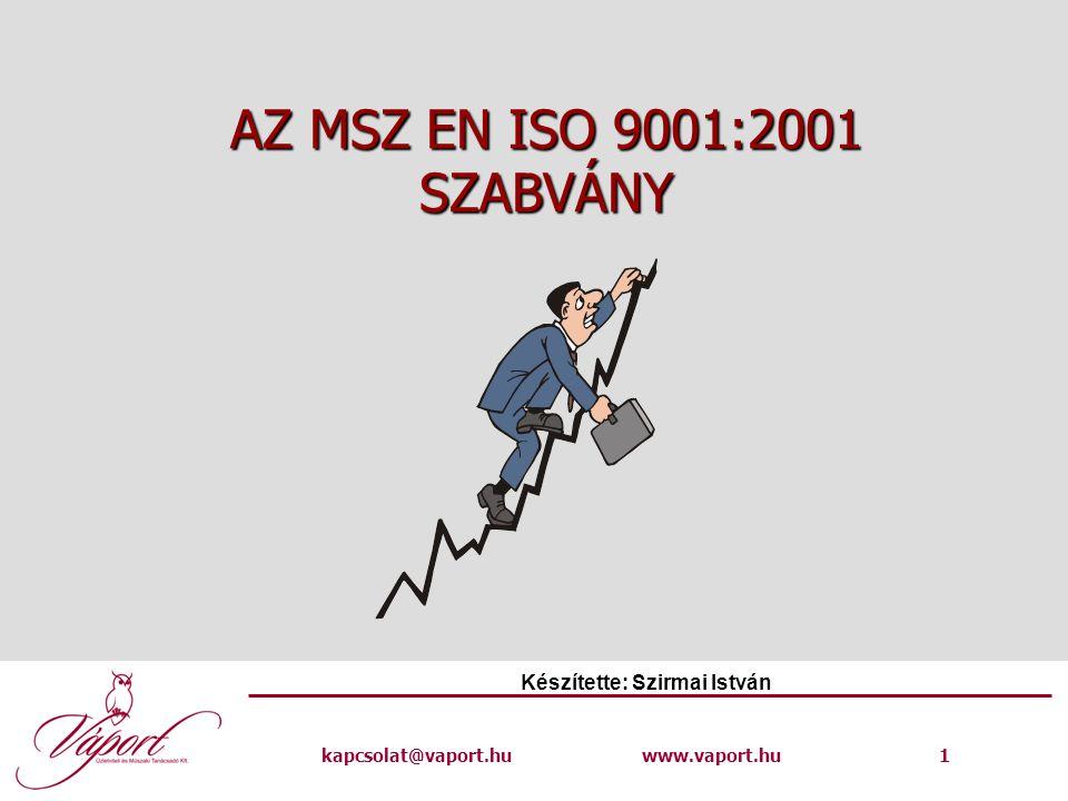kapcsolat@vaport.huwww.vaport.hu 1 AZ MSZ EN ISO 9001:2001 SZABVÁNY Készítette: Szirmai István