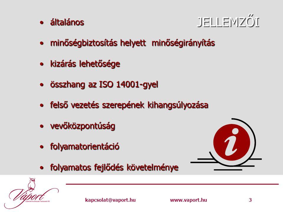 kapcsolat@vaport.huwww.vaport.hu 3 JELLEMZŐI általánosáltalános minőségbiztosítás helyett minőségirányításminőségbiztosítás helyett minőségirányítás kizárás lehetőségekizárás lehetősége összhang az ISO 14001-gyelösszhang az ISO 14001-gyel felső vezetés szerepének kihangsúlyozásafelső vezetés szerepének kihangsúlyozása vevőközpontúságvevőközpontúság folyamatorientációfolyamatorientáció folyamatos fejlődés követelményefolyamatos fejlődés követelménye