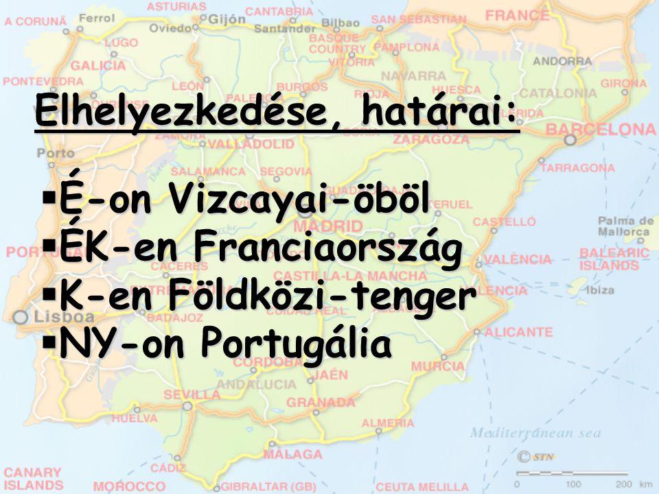 Elhelyezkedése, határai:  É-on Vizcayai-öböl  ÉK-en Franciaország  K-en Földközi-tenger  NY-on Portugália