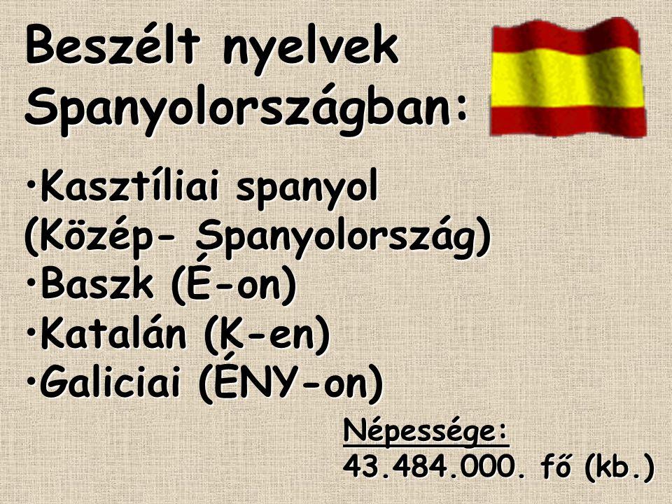 Beszélt nyelvek Spanyolországban: Kasztíliai spanyol (Közép- Spanyolország)Kasztíliai spanyol (Közép- Spanyolország) Baszk (É-on)Baszk (É-on) Katalán