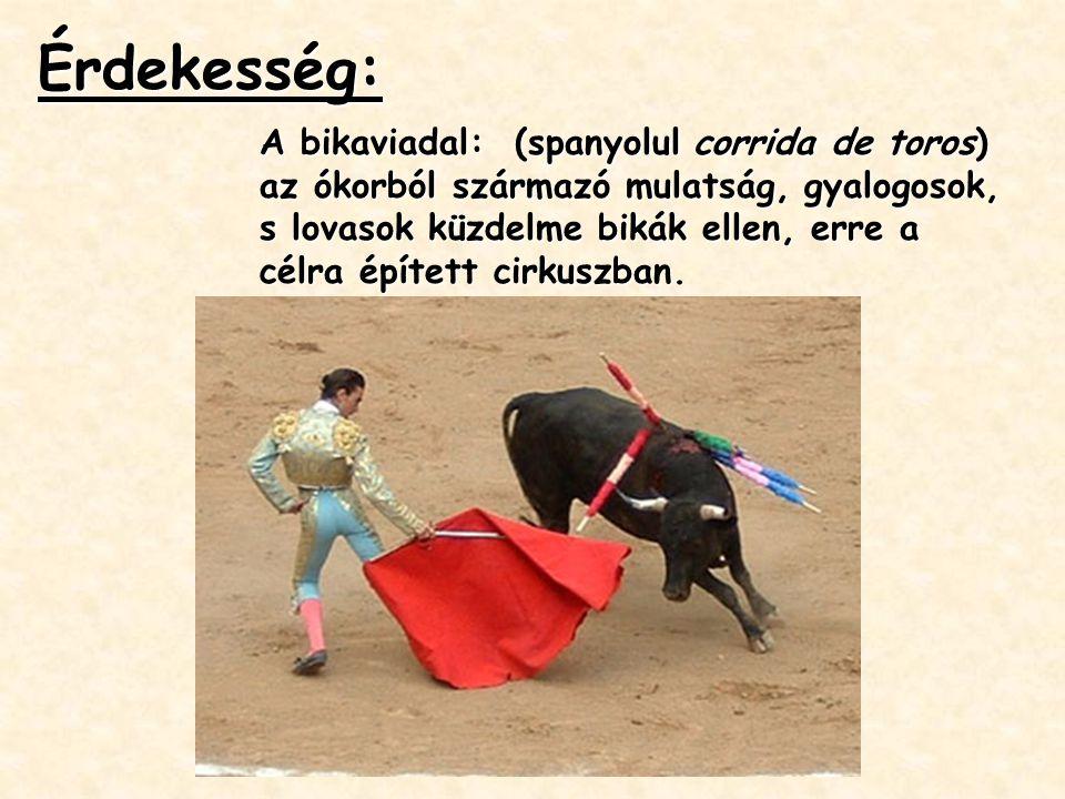 Érdekesség: A bikaviadal: (spanyolul corrida de toros) az ókorból származó mulatság, gyalogosok, s lovasok küzdelme bikák ellen, erre a célra épített