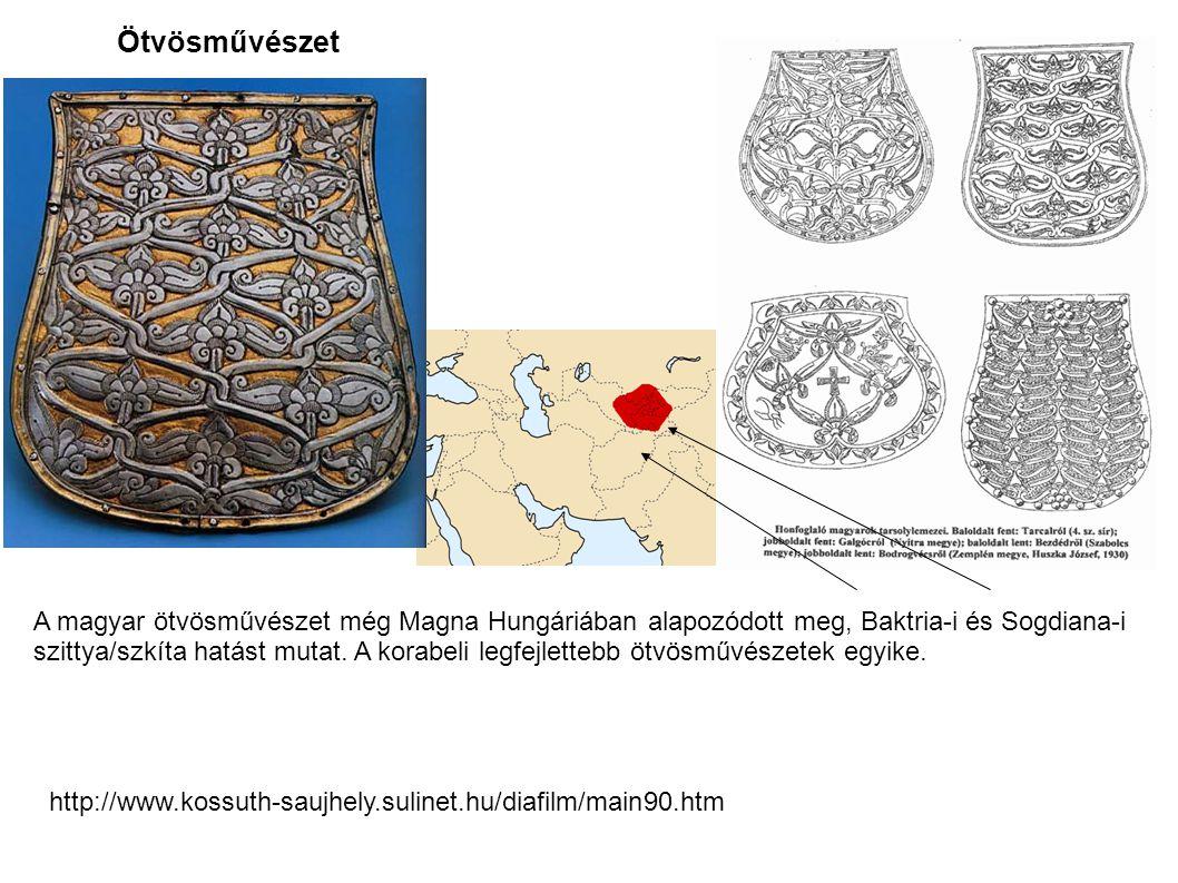 Ötvösművészet A magyar ötvösművészet még Magna Hungáriában alapozódott meg, Baktria-i és Sogdiana-i szittya/szkíta hatást mutat. A korabeli legfejlett
