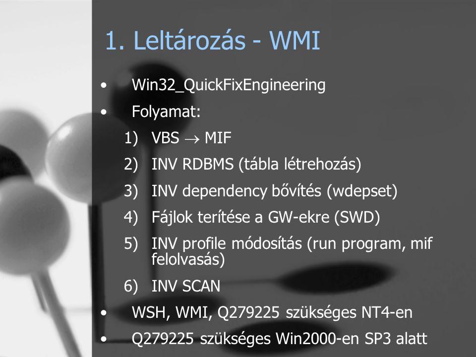 1. Leltározás - WMI Win32_QuickFixEngineering Folyamat: 1)VBS  MIF 2)INV RDBMS (tábla létrehozás) 3)INV dependency bővítés (wdepset) 4)Fájlok terítés