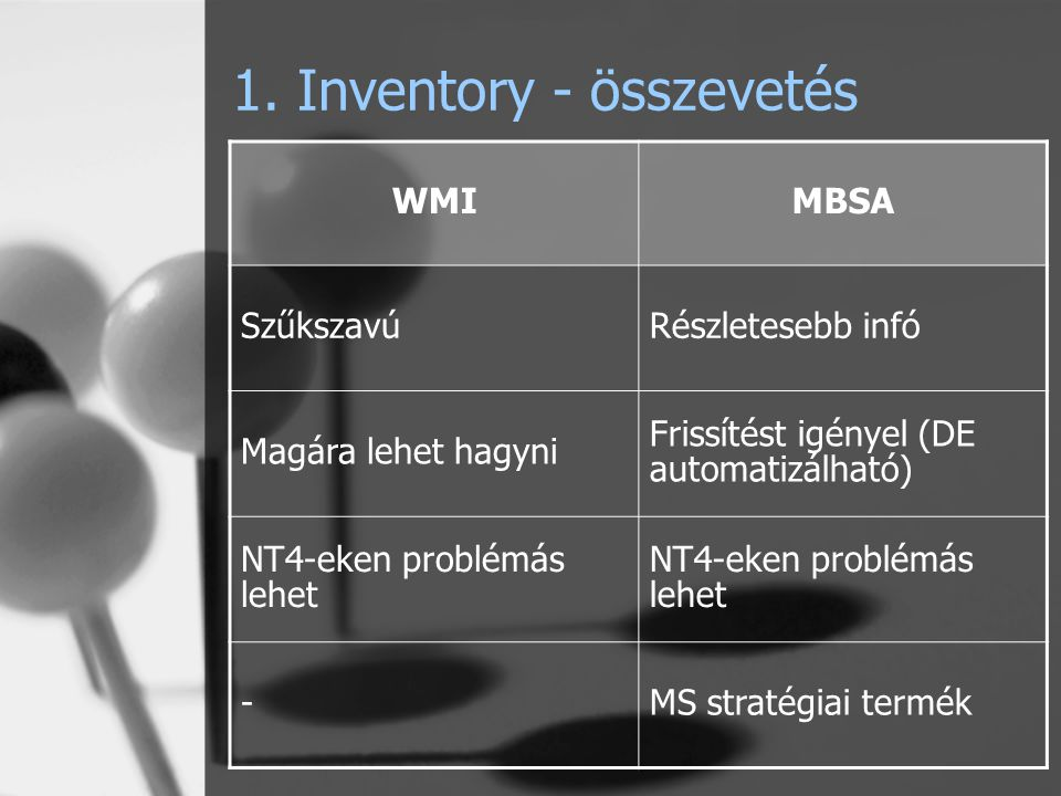 1. Inventory - összevetés WMIMBSA SzűkszavúRészletesebb infó Magára lehet hagyni Frissítést igényel (DE automatizálható) NT4-eken problémás lehet -MS