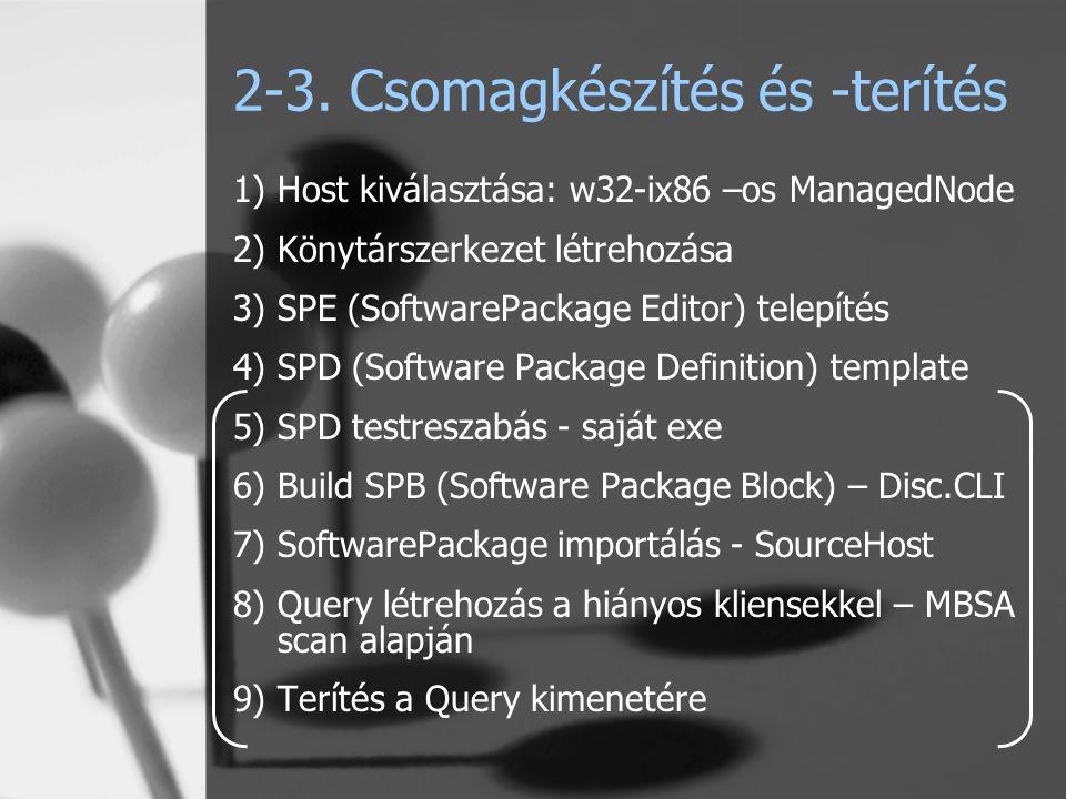 2-3. Csomagkészítés és -terítés 1)Host kiválasztása: w32-ix86 –os ManagedNode 2)Könytárszerkezet létrehozása 3)SPE (SoftwarePackage Editor) telepítés