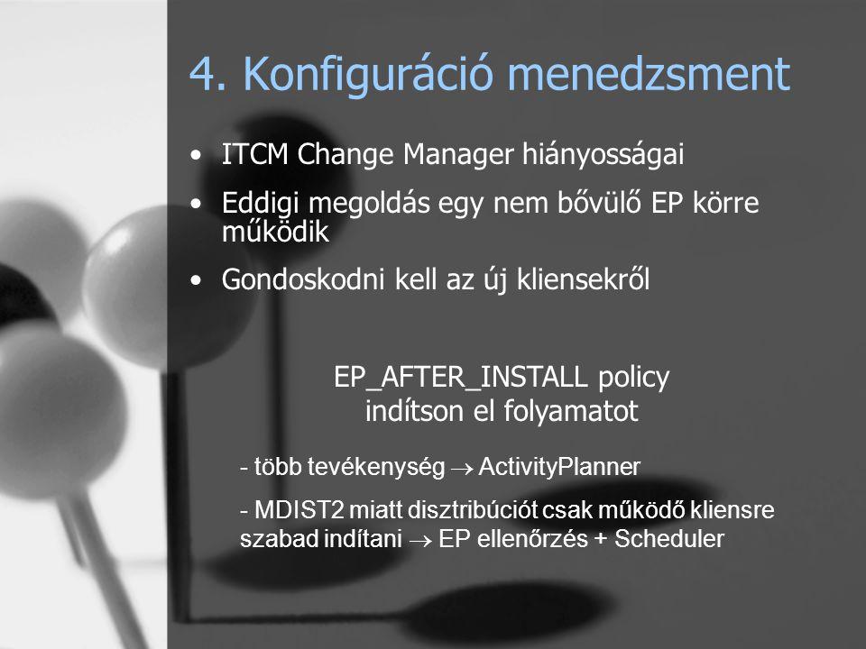 4. Konfiguráció menedzsment ITCM Change Manager hiányosságai Eddigi megoldás egy nem bővülő EP körre működik Gondoskodni kell az új kliensekről EP_AFT