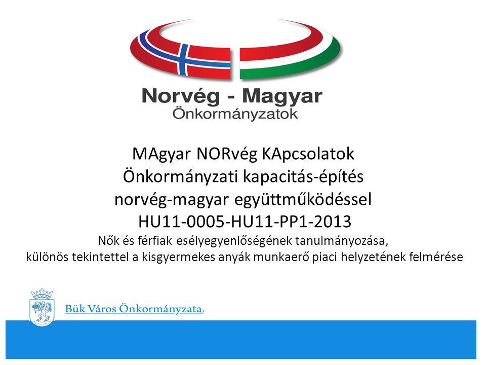 MAgyar NORvég KApcsolatok Önkormányzati kapacitás-építés norvég-magyar együttműködéssel HU11-0005-HU11-PP1-2013 Nők és férfiak esélyegyenlőségének tanulmányozása, különös tekintettel a kisgyermekes anyák munkaerő piaci helyzetének felmérése