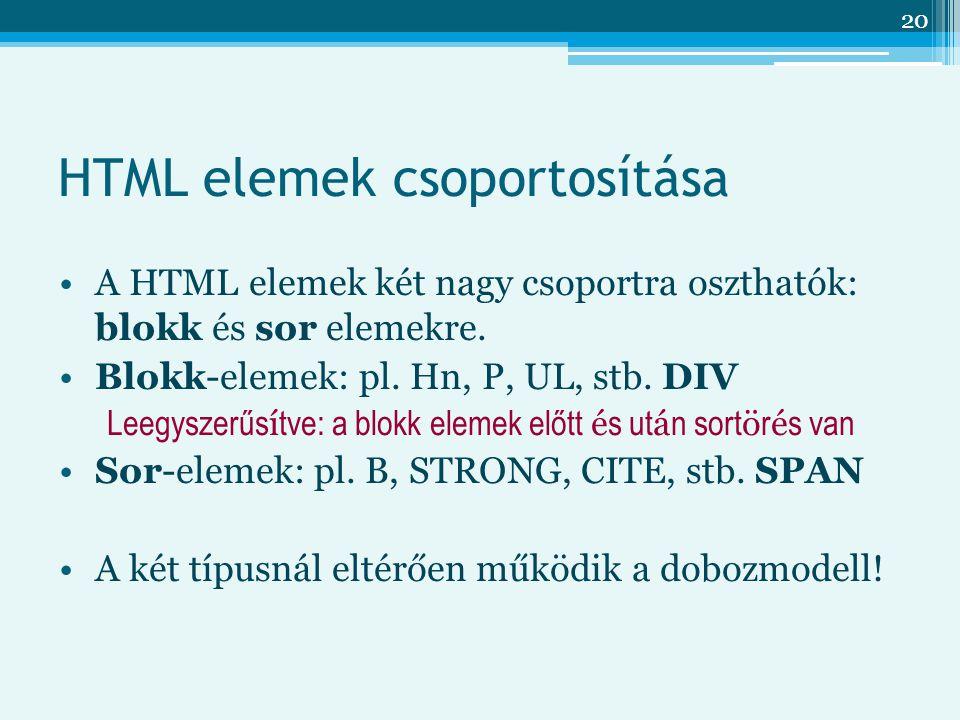 20 HTML elemek csoportosítása A HTML elemek két nagy csoportra oszthatók: blokk és sor elemekre.