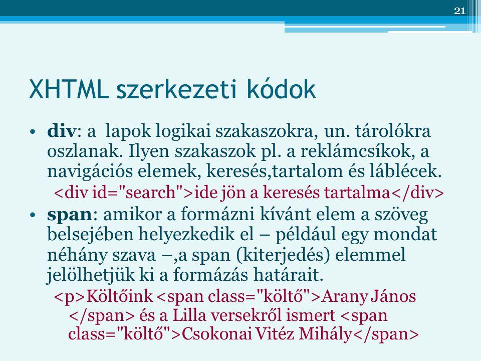 21 XHTML szerkezeti kódok div: a lapok logikai szakaszokra, un.