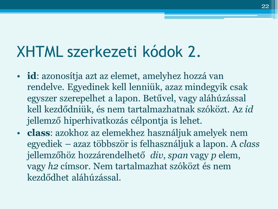 22 XHTML szerkezeti kódok 2.id: azonosítja azt az elemet, amelyhez hozzá van rendelve.