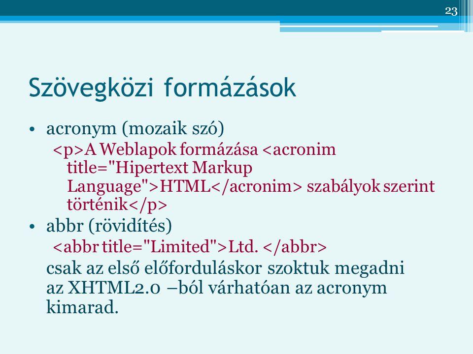 23 Szövegközi formázások acronym (mozaik szó) A Weblapok formázása HTML szabályok szerint történik abbr (rövidítés) Ltd.