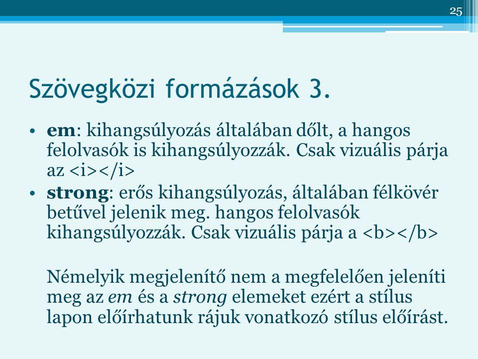 25 Szövegközi formázások 3.