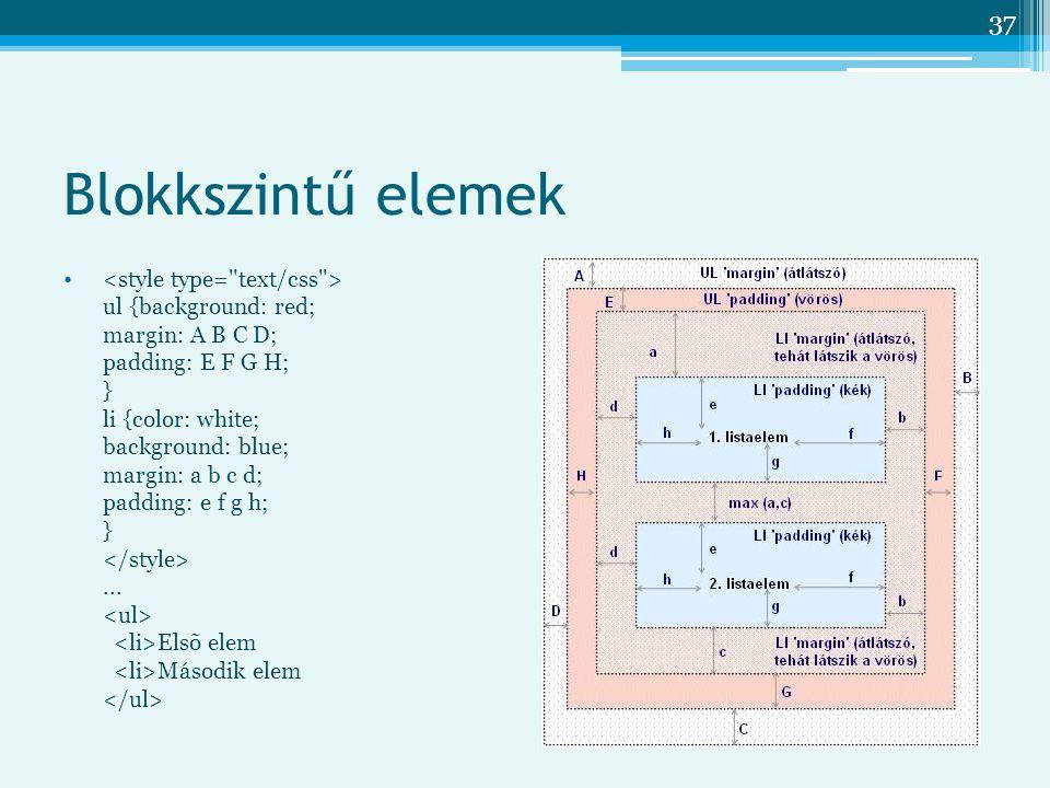 37 Blokkszintű elemek ul {background: red; margin: A B C D; padding: E F G H; } li {color: white; background: blue; margin: a b c d; padding: e f g h; }...
