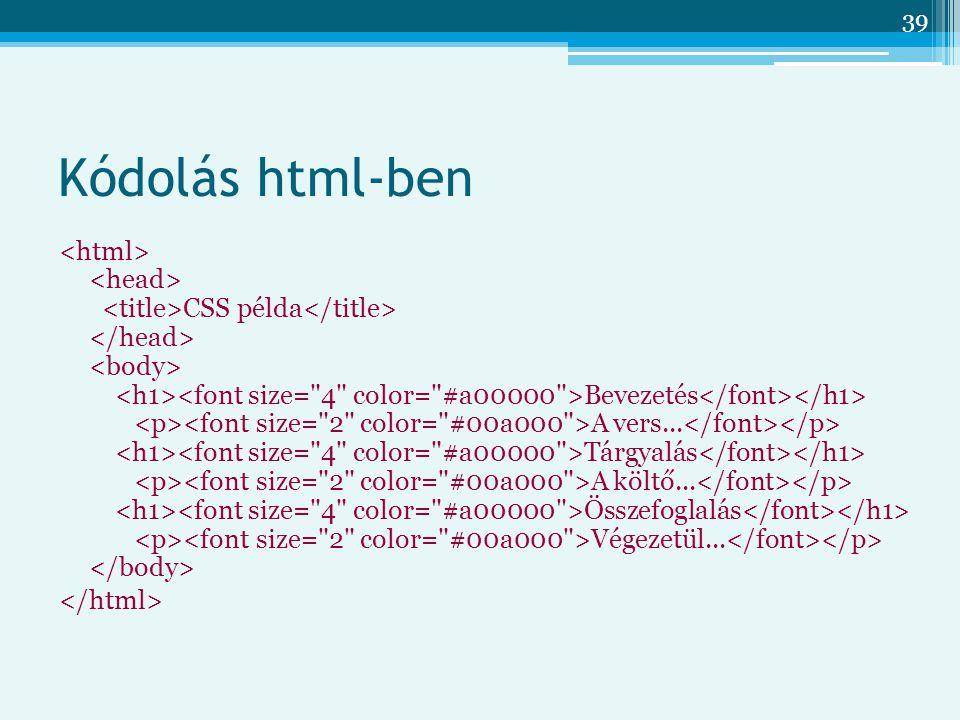 39 Kódolás html-ben CSS példa Bevezetés A vers... Tárgyalás A költő... Összefoglalás Végezetül...