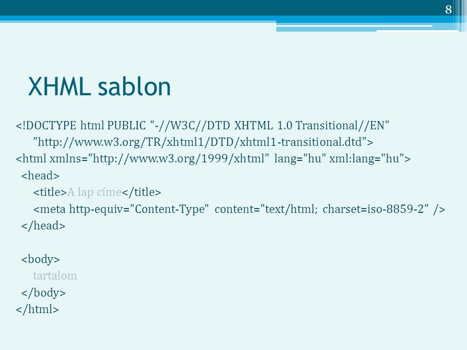 8 XHML sablon <!DOCTYPE html PUBLIC -//W3C//DTD XHTML 1.0 Transitional//EN http://www.w3.org/TR/xhtml1/DTD/xhtml1-transitional.dtd > A lap címe tartalom