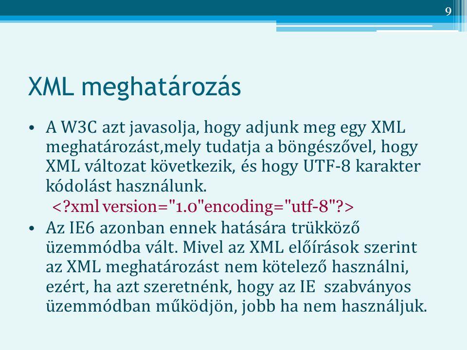 9 XML meghatározás A W3C azt javasolja, hogy adjunk meg egy XML meghatározást,mely tudatja a böngészővel, hogy XML változat következik, és hogy UTF-8 karakter kódolást használunk.