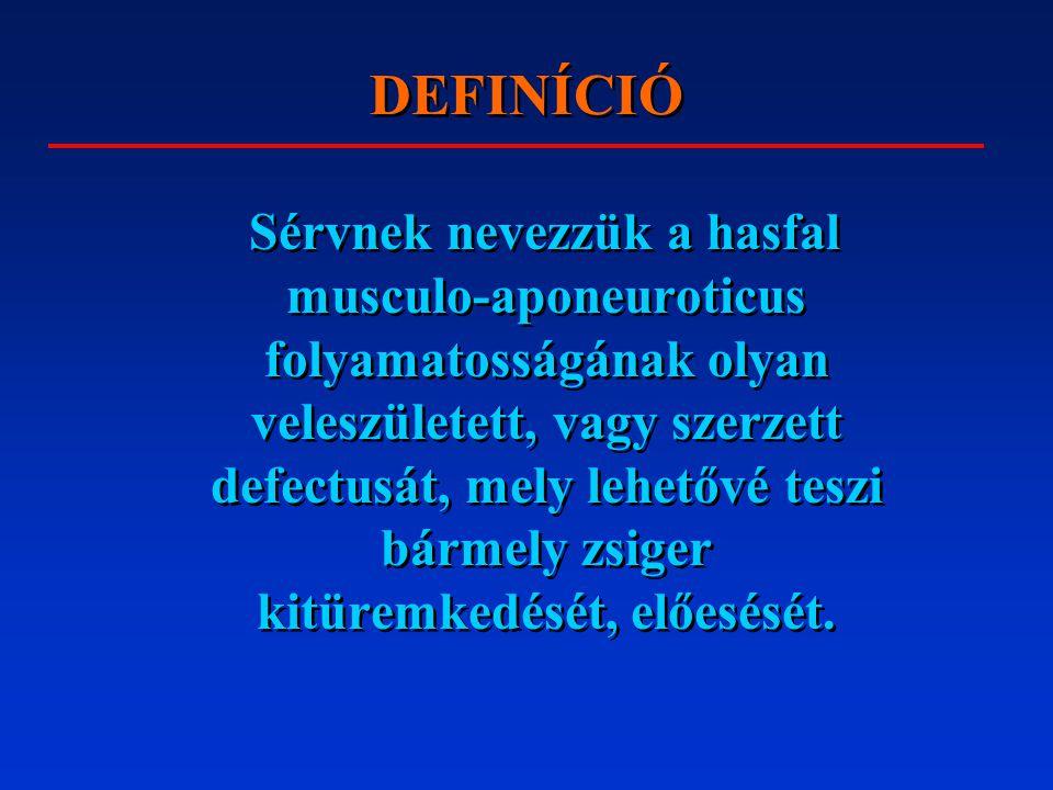 LÁGYÉKSÉRV Recidívák (irodalom szerint: 1-10%) gyakorisága függ: –a választott műtéti típustól –az operatőr műtéti technikájától –a beteg általános állapotától –a posztoperatív szak lezajlásától Recidívák (irodalom szerint: 1-10%) gyakorisága függ: –a választott műtéti típustól –az operatőr műtéti technikájától –a beteg általános állapotától –a posztoperatív szak lezajlásától