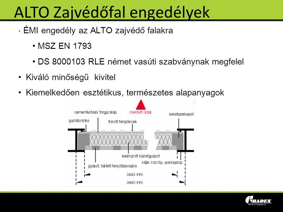 ÉMI engedély az ALTO zajvédő falakra MSZ EN 1793 DS 8000103 RLE német vasúti szabványnak megfelel Kiváló minőségű kivitel Kiemelkedően esztétikus, ter