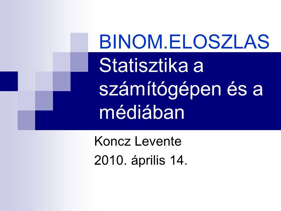BINOM.ELOSZLAS Statisztika a számítógépen és a médiában Koncz Levente 2010. április 14.