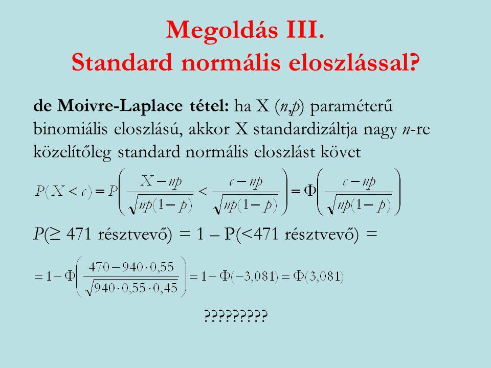Megoldás II. Stirling-formulával? P(471 résztvevő) = a) Határozza meg annak valószínűségét, hogy éppen 471- en vesznek részt a választáson!