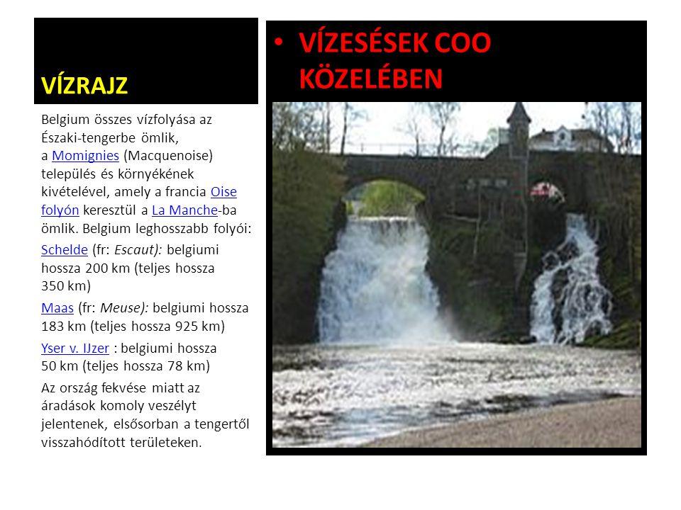 VĺZRAJZ VĺZESÉSEK COO KÖZELÉBEN Belgium összes vízfolyása az Északi-tengerbe ömlik, a Momignies (Macquenoise) település és környékének kivételével, am