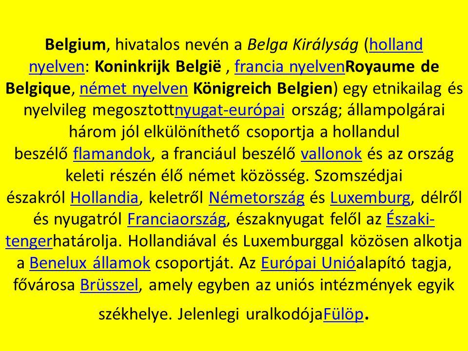 Belgium, hivatalos nevén a Belga Királyság (holland nyelven: Koninkrijk België, francia nyelvenRoyaume de Belgique, német nyelven Königreich Belgien)