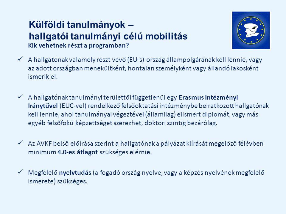 Kik vehetnek részt a programban? A hallgatónak valamely részt vevő (EU-s) ország állampolgárának kell lennie, vagy az adott országban menekültként, ho
