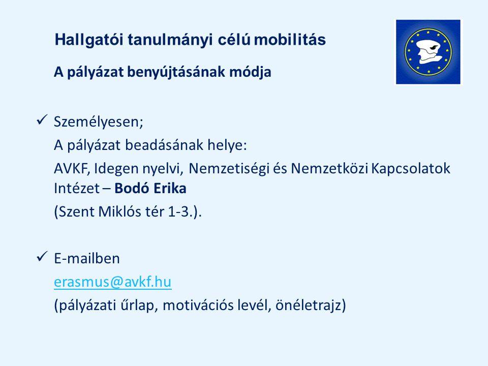 A pályázat benyújtásának módja Személyesen; A pályázat beadásának helye: AVKF, Idegen nyelvi, Nemzetiségi és Nemzetközi Kapcsolatok Intézet – Bodó Eri