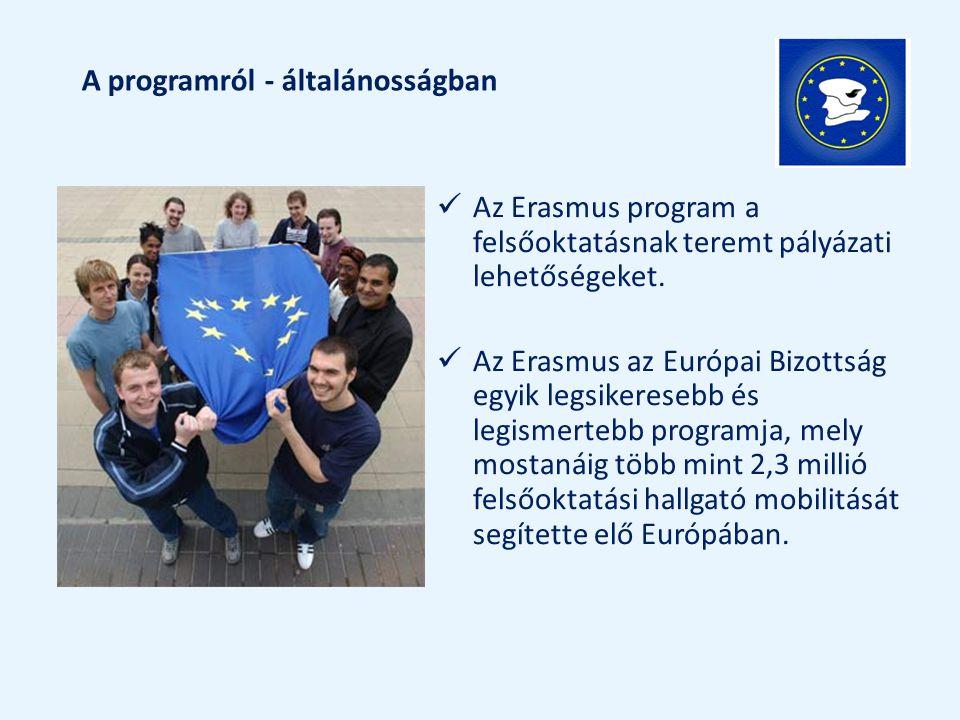 A programról - általánosságban Az Erasmus program a felsőoktatásnak teremt pályázati lehetőségeket. Az Erasmus az Európai Bizottság egyik legsikereseb