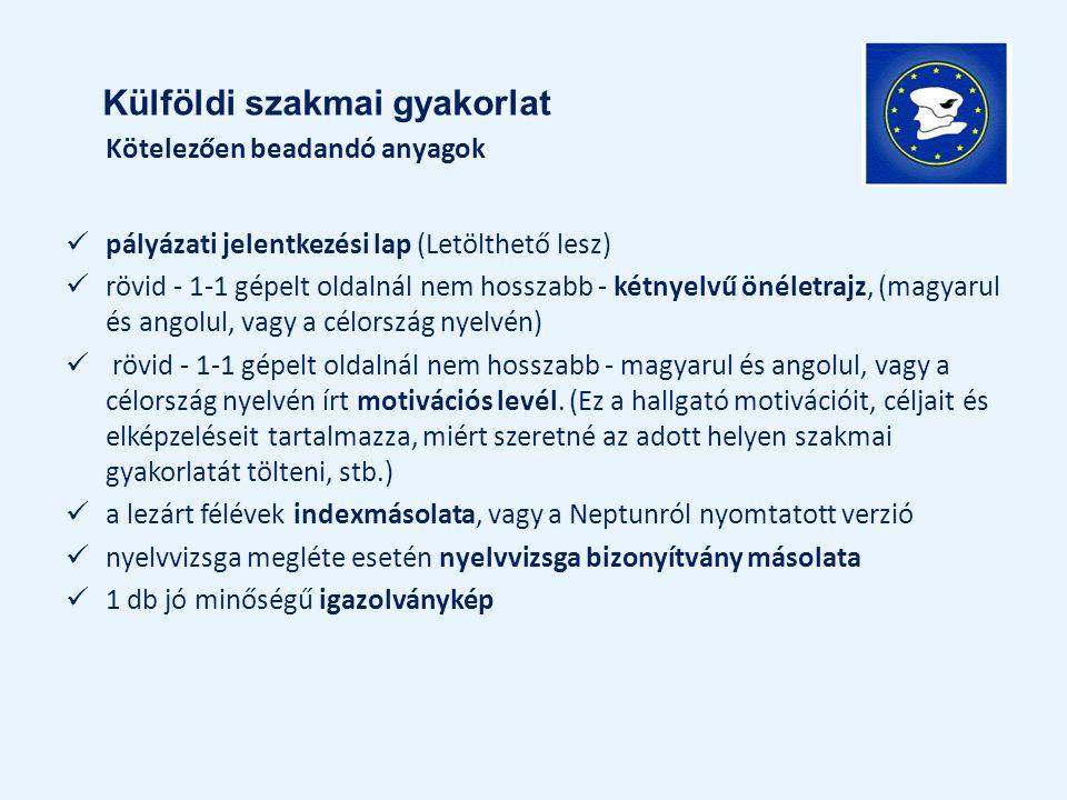 Kötelezően beadandó anyagok pályázati jelentkezési lap (Letölthető lesz) rövid - 1-1 gépelt oldalnál nem hosszabb - kétnyelvű önéletrajz, (magyarul és