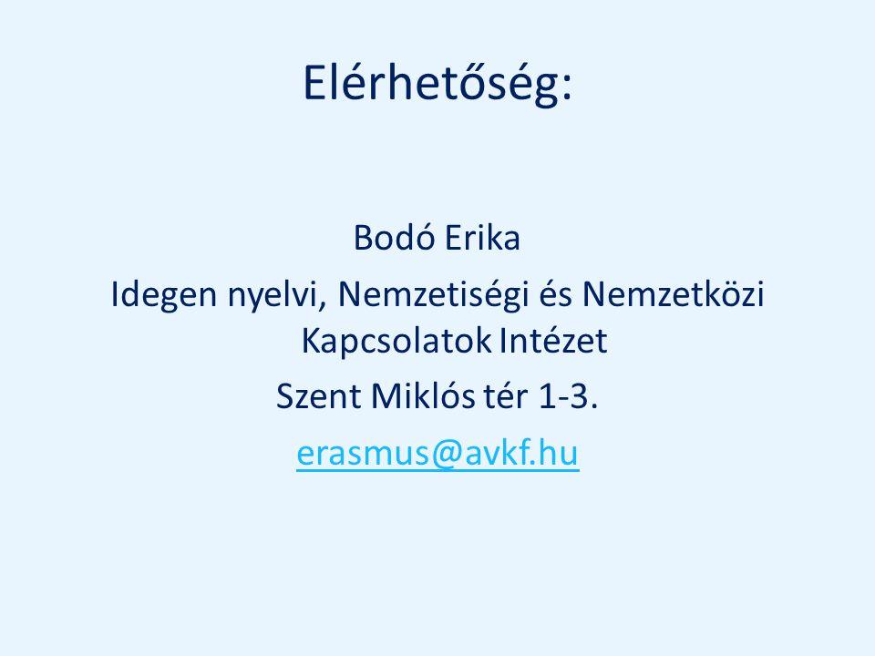 Elérhetőség: Bodó Erika Idegen nyelvi, Nemzetiségi és Nemzetközi Kapcsolatok Intézet Szent Miklós tér 1-3. erasmus@avkf.hu