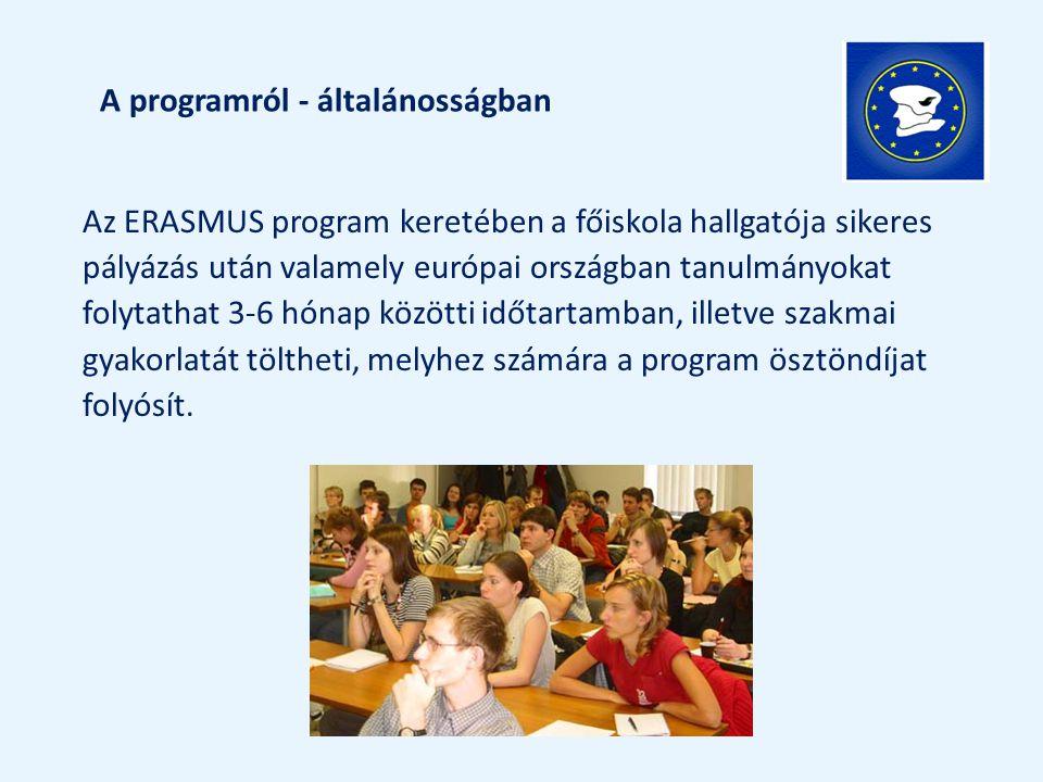 Az ERASMUS program keretében a főiskola hallgatója sikeres pályázás után valamely európai országban tanulmányokat folytathat 3-6 hónap közötti időtart