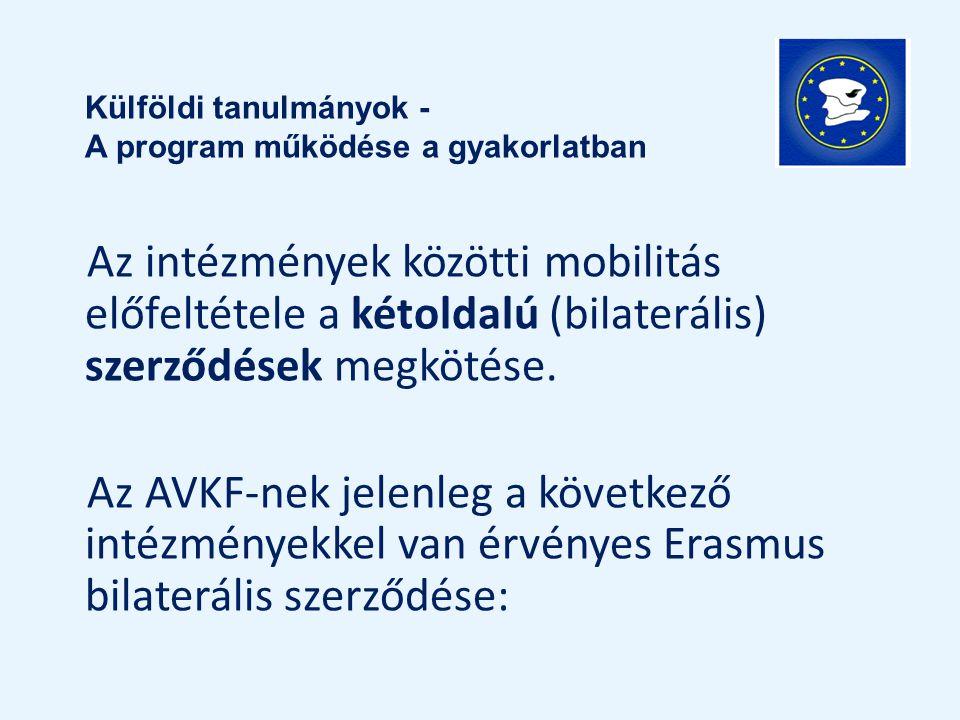 Az intézmények közötti mobilitás előfeltétele a kétoldalú (bilaterális) szerződések megkötése. Az AVKF-nek jelenleg a következő intézményekkel van érv