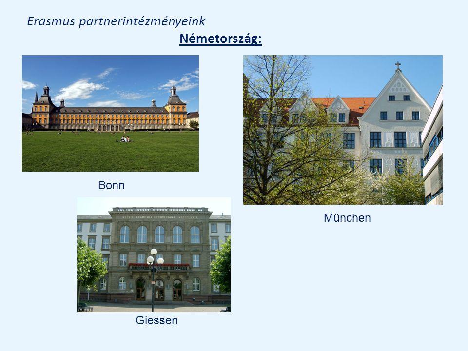 Erasmus partnerintézményeink Németország: Bonn München Giessen
