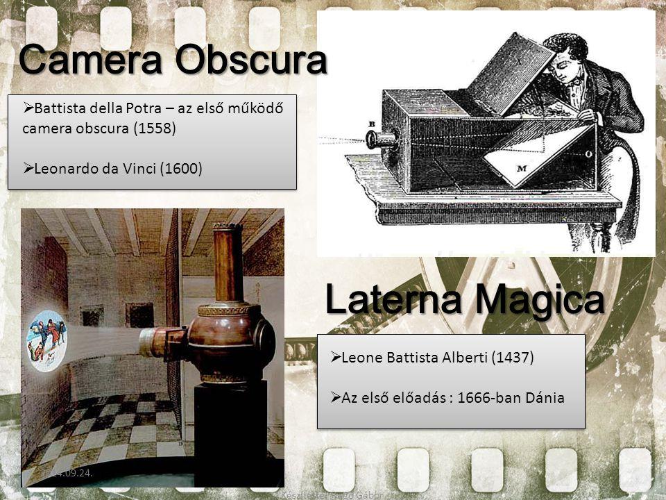 Laterna Magica Camera Obscura  Battista della Potra – az első működő camera obscura (1558)  Leonardo da Vinci (1600)  Leone Battista Alberti (1437)