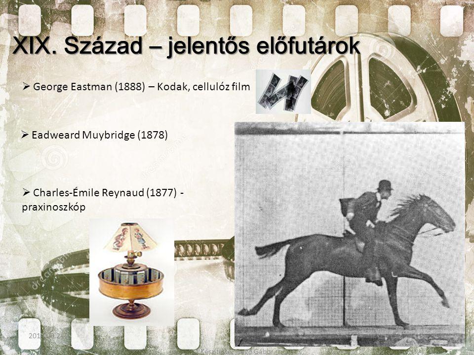 XIX. Század – jelentős előfutárok  George Eastman (1888) – Kodak, cellulóz film  Eadweard Muybridge (1878)  Charles-Émile Reynaud (1877) - praxinos