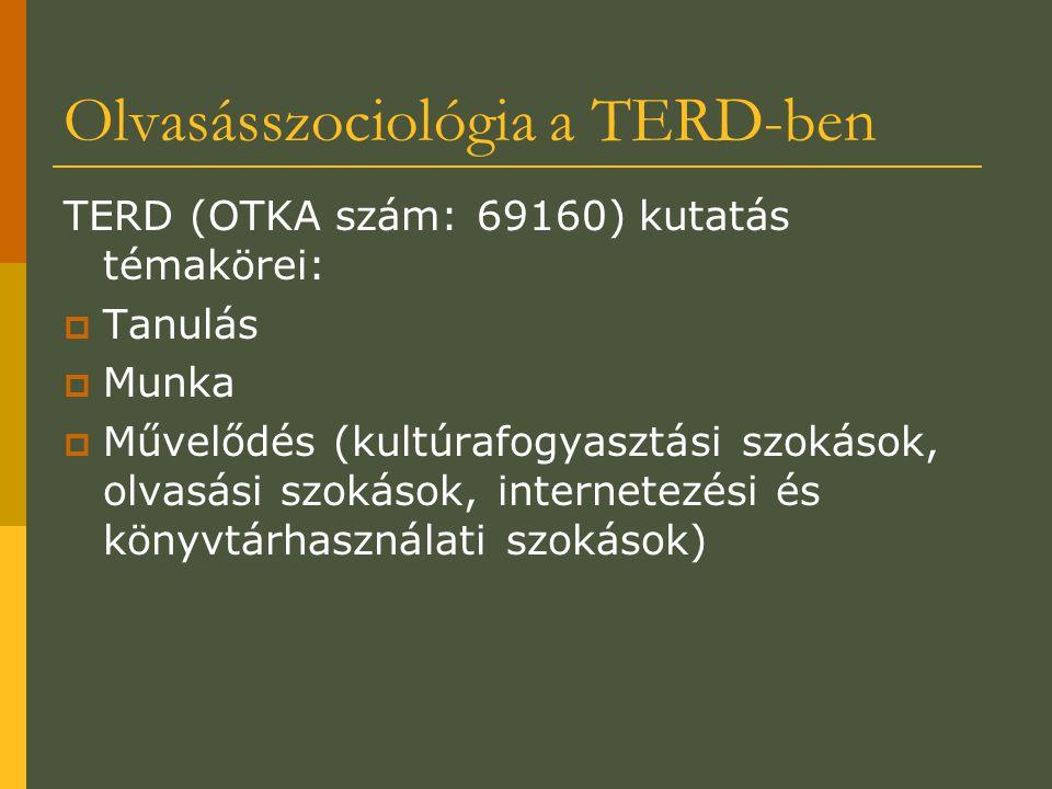 Olvasásszociológia a TERD-ben TERD (OTKA szám: 69160) kutatás témakörei:  Tanulás  Munka  Művelődés (kultúrafogyasztási szokások, olvasási szokások, internetezési és könyvtárhasználati szokások)