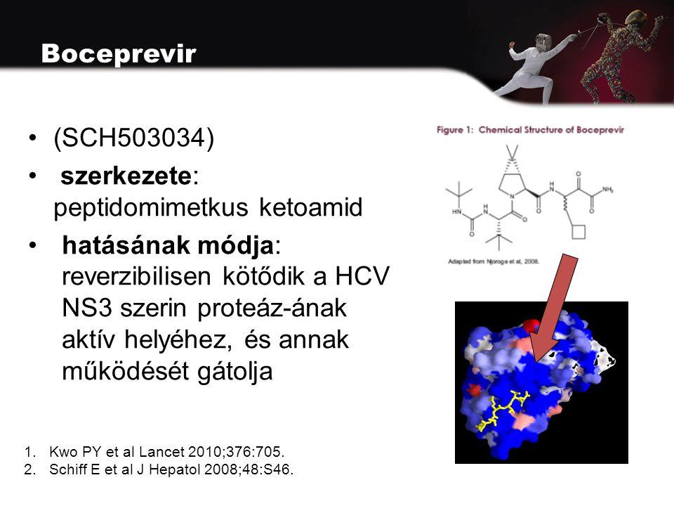 Boceprevir (SCH503034) szerkezete: peptidomimetkus ketoamid hatásának módja: reverzibilisen kötődik a HCV NS3 szerin proteáz-ának aktív helyéhez, és annak működését gátolja 1.Kwo PY et al Lancet 2010;376:705.