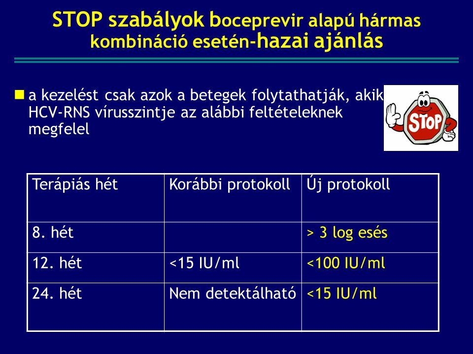 STOP szabályok b oceprevir alapú hármas kombináció esetén- hazai ajánlás a kezelést csak azok a betegek folytathatják, akik HCV-RNS vírusszintje az alábbi feltételeknek megfelel Terápiás hétKorábbi protokollÚj protokoll 8.