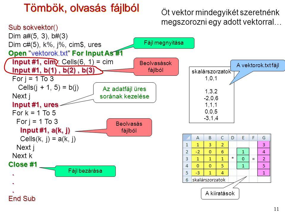 11 Tömbök, olvasás fájlból Öt vektor mindegyikét szeretnénk megszorozni egy adott vektorral… skalárszorzatok 1,0,1 1,3,2 -2,0,6 1,1,1 0,0,5 -3,1,4 A vektorok.txt fájl A kiiratások Sub sokvektor Sub sokvektor() Dim a#(5, 3), b#(3) Dim c#(5), k%, j%, cim$, ures Openvektorok.txtFor Input As #1 Open vektorok.txt For Input As #1 Input #1, cim Input #1, cim : Cells(6, 1) = cim Input #1, b(1), b(2), b(3) For j = 1 To 3 Cells(j + 1, 5) = b(j) Next j Input #1, ures For k = 1 To 5 For j = 1 To 3 Input #1, a(k, j) Cells(k, j) = a(k, j) Next j Next k Close #1...