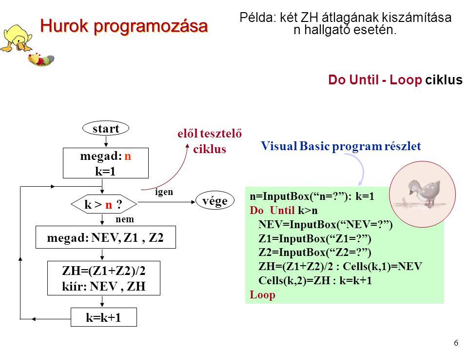 7 Do While - Loop ciklus átírása For To – Next ciklusba: (elől tesztelő ciklusok) Példa: két ZH átlagának kiszámítása n hallgató esetén.