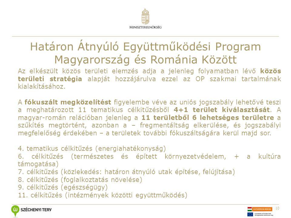 10 Határon Átnyúló Együttműködési Program Magyarország és Románia Között Az elkészült közös területi elemzés adja a jelenleg folyamatban lévő közös te