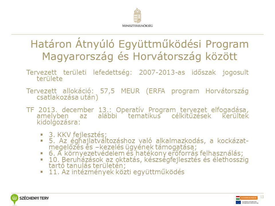11 Határon Átnyúló Együttműködési Program Magyarország és Horvátország között Tervezett területi lefedettség: 2007-2013-as időszak jogosult területe Tervezett allokáció: 57,5 MEUR (ERFA program Horvátország csatlakozása után) TF 2013.