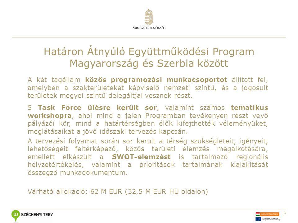 13 Határon Átnyúló Együttműködési Program Magyarország és Szerbia között A két tagállam közös programozási munkacsoportot állított fel, amelyben a szakterületeket képviselő nemzeti szintű, és a jogosult területek megyei szintű delegáltjai vesznek részt.