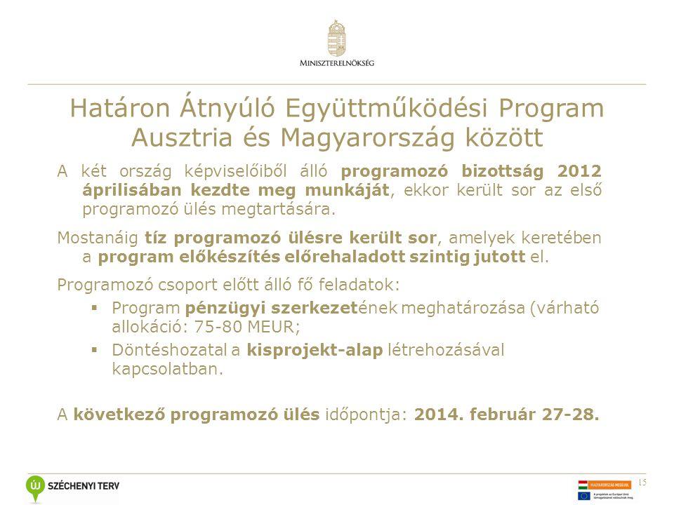 15 Határon Átnyúló Együttműködési Program Ausztria és Magyarország között A két ország képviselőiből álló programozó bizottság 2012 áprilisában kezdte meg munkáját, ekkor került sor az első programozó ülés megtartására.