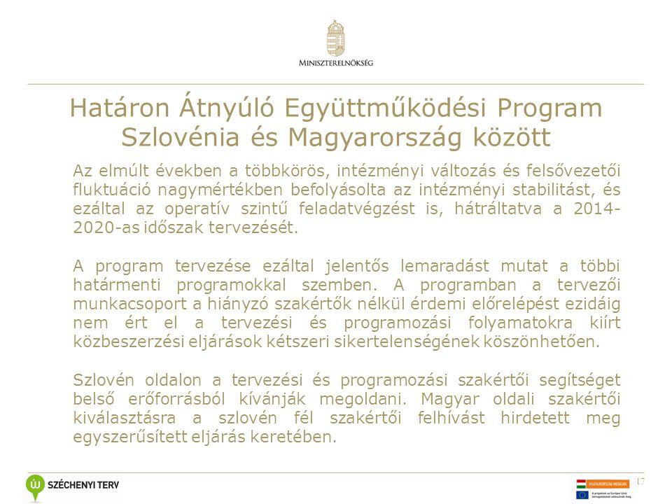 17 Határon Átnyúló Együttműködési Program Szlovénia és Magyarország között Az elmúlt években a többkörös, intézményi változás és felsővezetői fluktuáció nagymértékben befolyásolta az intézményi stabilitást, és ezáltal az operatív szintű feladatvégzést is, hátráltatva a 2014- 2020-as időszak tervezését.